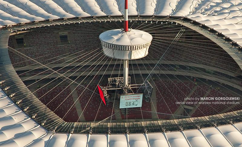 stadion narodowy,iglica,dach z lotu ptaka,lotnicze
