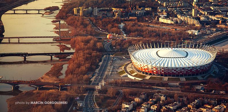 stadion narodowy,z lotu ptaka lotnicze,wisła,most swietokrzyski