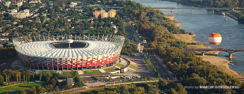 stadion narodowy,iglica,dach,z lotu ptaka lotnicze,balon widokowy,orange