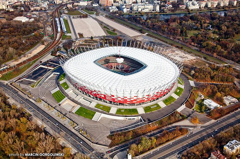stadion narodowy,warszawa,fotografia lotnicza