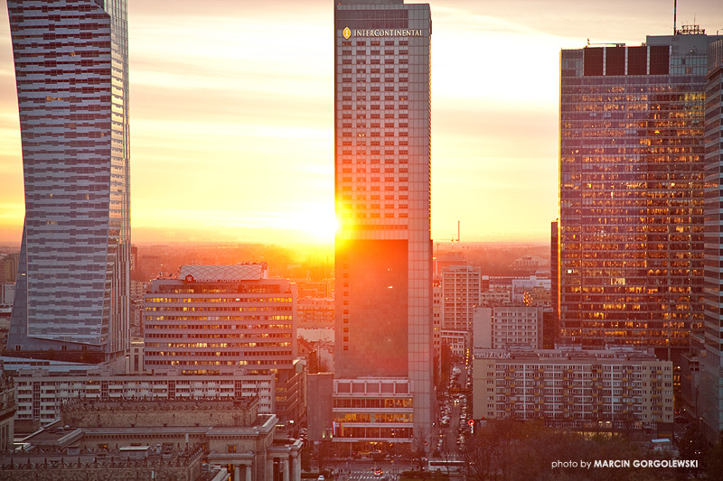 warsaw sunset,hotel intercontinental