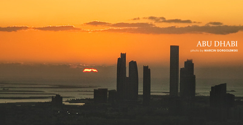 abu dhabi downtown sunset